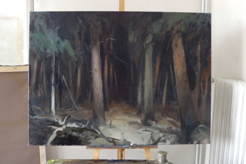 Into darkness - painting in progress